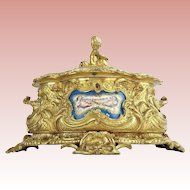 1860 French Putti Bronze Double Handle Casket Hinged Box  ~ SEVRES PLAQUES  ~  Three Grand Plaques