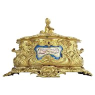"""Antique French Putti Bronze Double Handle Casket Hinged Box """"SEVRES PLAQUES"""" ~ AMAZING & BEAUTIFUL  ~ Putti  &  Three Grand Plaques"""