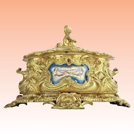 "Antique French Putti Bronze Double Handle Casket Hinged Box ""SEVRES PLAQUES"" ~ AMAZING & BEAUTIFUL  ~ Putti  &  Three Grand Plaques"
