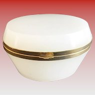Antique French White Oval Opaline Hinged Box ~ Pretty Smooth Gilt Mounts and Lift  Clasp