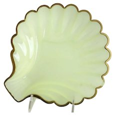 Beautiful Antique French Green Opaline Shell Shape Bowl ~ BIG!  BEAUTIFUL!  ~ AS IS!  ~ YIKES! A Sliver in the Gilding