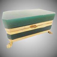 Antique French Opaline Hinged Box ~ Magnificent Gilt Bronze Paw Feet ~ Rare Deep Emerald Green Opaline ~ A BEAUTY!