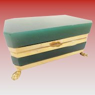 Antique French Opaline Hinged Box ~ Magnificent Gilt Bronze Paw Feet ~ Rare Deep Emerald Green Opaline ~ A BEAUTY!