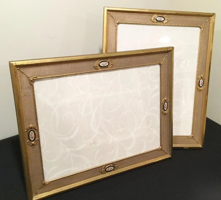 "PAIR"" Vintage Picture Brass Frames with Enamel Rose Plaques ~ Table ..."