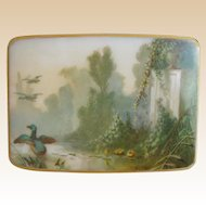 "7"" Beautiful Antique French Opaline Double Handle Casket Hinged Box.~ A Hand painted Lush Garden View with Ducks Gracing the Dome Top"