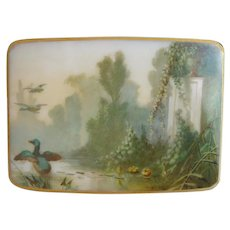"""7"""" Beautiful Antique French Opaline Double Handle Casket Hinged Box.~ A Hand painted Lush Garden View with Ducks Gracing the Dome Top"""