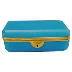 "Antique 6"" French Blue Opaline Casket Hinged Box ~ Fabulous Blue Opaline  & Beautiful  Gilt Mounts"