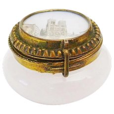 Antique Grand Tour White Opaline Casket Hinged Box ~ A Delightful White French Opaline Patch Box with an Eglomise  ~  Gilt Ormolu Mounts with S Clasp & Original Mirror