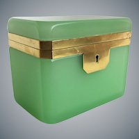 Stunning Antique French Green  Opaline Casket Hinged Box  ~ RARE Hard to Find Green Opaline  ~  Great Size