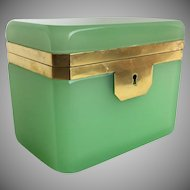 Antique French Green  Opaline Casket Hinged Box  ~ RARE Hard to Find Green Opaline  ~  Great Size and Stunning Shape