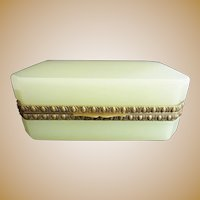 Antique French Green Opaline Casket Hinged Box ~ YUMMY Lemon Green with Pretty Ornate Gilt Mounts