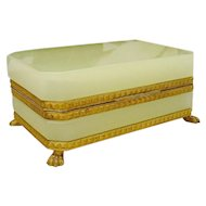 Magnificent Antique French Green Opaline Casket Hinged Box  ~ Pretty Dore' Bronze Mounts and Base with Fabulous Paw Feet