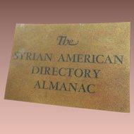 1930  The Syrian American Directory Almanac