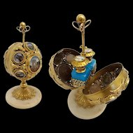 Antique French Napoleon III Palais Royal Mechanical Scent Caddy ~ A Big Round Ball  with 14 Eglomise  Plaques ~ Two Divine Blue Opaline Scent Bottles with Hand Painted Miniature Tops
