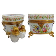 1830 Baccarat Hand Painted Opaline Scent Casket. ~ Two Large Scent Bottle with Beautiful Ornate Tops ~ THE BEST! THE RAREST! ~  A Masterpiece from My Treasure Vault.