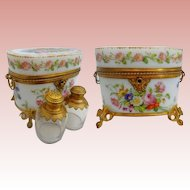 1830 Baccarat Hand Painted Opaline Scent Casket ~  A MASTERPIECE