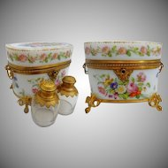 THE BEST! 1830 Baccarat Hand Painted Opaline Scent Casket. ~ Two Large Scent Bottle with Beautiful Ornate Tops ~  A Masterpiece from My Treasure Vault.