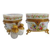 MD. 1830 Baccarat Hand Painted Opaline Scent Casket ~  A MASTERPIECE