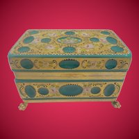 """8"""" Antique  Green Opaline Glass Casket Hinged Box ~ Unique Cut and Hand Painted  ~ Gilt Bronze Paw Foot Base ~  Looks like Malachite Glass. ~"""