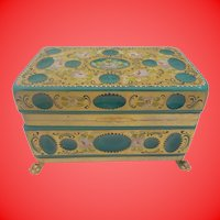 "8"" Antique  Green Opaline Glass Casket Hinged Box ~ Unique Cut and Hand Painted  ~ Gilt Bronze Paw Foot Base ~  Looks like Malachite Glass. ~"