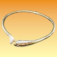 18KARAT Yellow Gold Diamond Hinged Dolphin Choker Necklace ~  Ruby Eyes  ~ GLORIOUS FIT