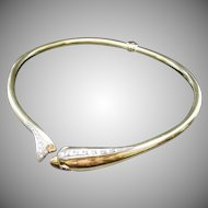 18KARAT Yellow Gold Diamond Hinged Dolphin Choker Necklace ~  Ruby Eyes  ~ GLORIOUS FIT