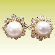 Magnificent Diamond and 10mm Cultured Pearls Earrings