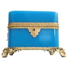 Magnificent  Antique French Double Handles Blue Opaline Casket Hinged Box ~  Exquisite Gilt Mounts and Footed Base ~ Amazing Rich Blue Opaline