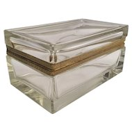 "Gorgeous Antique French Crystal ""CASE GLASS"" Casket Hinged Box ~  Stunning Bevel Edges at All Corners. ~ EXQUISITE!  This BOX is Special!"