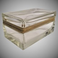 """Gorgeous Antique Baccarat French Crystal """"CASE GLASS"""" Casket Hinged Box ~  Stunning Bevel Edges at All Corners"""