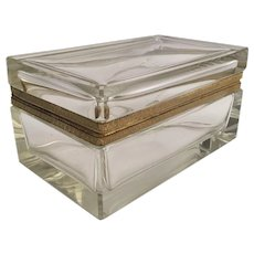 """Gorgeous Antique French Crystal """"CASE GLASS"""" Casket Hinged Box ~  Stunning Bevel Edges at All Corners. ~ EXQUISITE!  This BOX is Special!"""