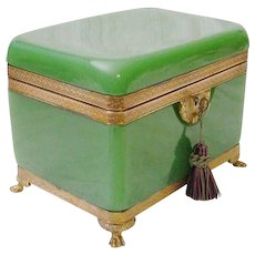 Stunning Large Antique French Green Opaline Paw Foot Casket Hinged Box ~ VF Paw Footed  Base and Divine Gilt Mounts  ~ RARE Shade of Green Opaline ~ BIG Rectangular Shape with The Soft Curved Round Sides