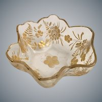 Beautiful Antique Moser Salt Nut Dish ~ Awesome Gilding  ~ Beautiful Shape.