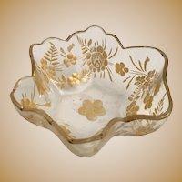 Beautiful Antique Moser Salt Nut Dish ~ Awesome Gilding  ~ Beautiful Shape.