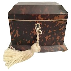 """Rare 6"""" Antique Faux Tortoise Double Tea Caddy ~ Stunning, Shape, and Beautiful Condition  ~ Absolutely EXQUISITE !"""