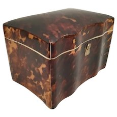 Antique Faux Tortoise Tea Caddy Casket Hinged Box