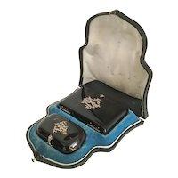 "19C Faux Tortoise Shell Set w Fabulous Silver Initials Dome Top Original Presentation Case  ""M.J""  ~Coin Purse and Notebook w Pencil ~ A Magnificent Set"
