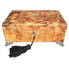 """Elegant 12""""  English Regency Faux Blonde Tortoise Keepsake  Casket Hinged Box   ~ YEA! A Locking Key"""