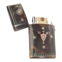 Antique Tortoise Etui w Touch of Green and Silver Pique ~ A RARE Very Special One!