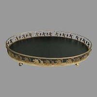 "MASSIVE 23 ½"" Brass Table Tray Plateau ~ Oval Table Tray Plateau ~ BIG and BEAUTIFUL"