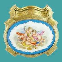 Antique French Gilt Bronze Hinged Box w Fabulous Porcelain Plaque ~ Three Precious Winged Cherubs