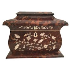 Grandest  Antique Mother of Pearl and Faux Tortoise Double Tea Caddy ~  Elegant Shape, and Beautiful Condition ~  A Charming English Masterpiece