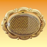 Antique Mourning Woven Hair Brooch.