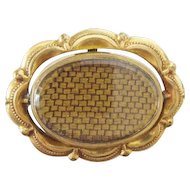 Antique Mourning Woven Hair Brooch. AS IS!