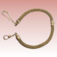 "Victorian Blond Hair Pinchbeck Pocket Watch Fob ""RARE PATTERN"""