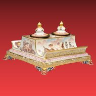 """Exquisite 7 ¾"""" Antique Capodimonte Double Inkwell  ~ """"Magnificent Shape & Size"""""""