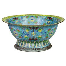 """LAYAWAY    19C  15 """" Chinese Cloisonné Footed Bowl"""