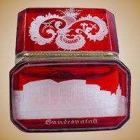 Antique Bohemian Red Ruby Cut to Clear Hinged Box Casket ~ Delightful Deep Rich Ruby with Gilt Mounts ~ Original Locking Key ~ A Beautiful Spa or Souvenir Box