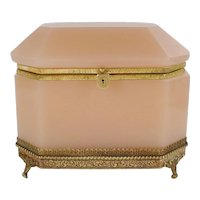 "Grandest Antique Pink Opaline Casket Hinged Box ""AWESOME FOOTED BASE"""