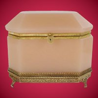"""Grandest Antique Pink Opaline Casket Hinged Box """"AWESOME FOOTED BASE"""""""